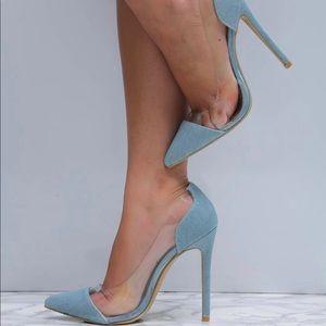 Denim Clear Transparent Perspex heels
